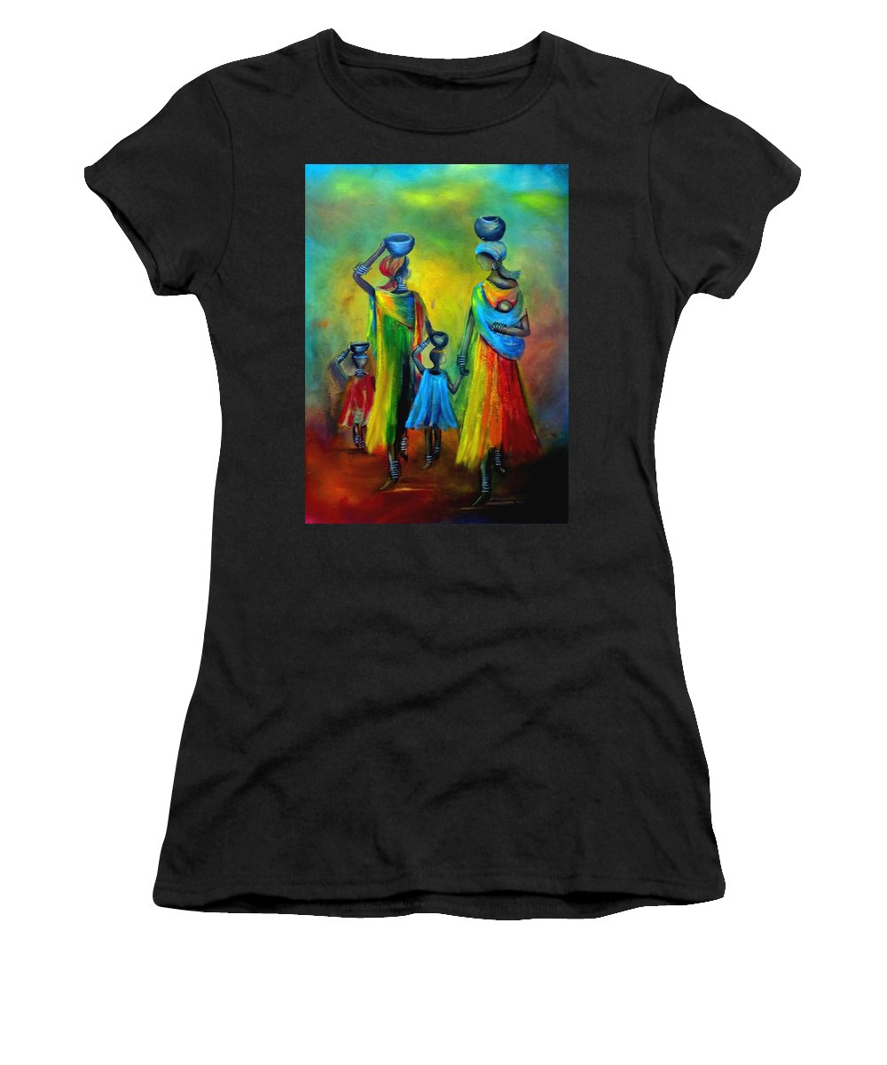 Mother And Child Women's T-Shirt featuring the painting Two Little Girls Carrying Water by Marietjie Henning