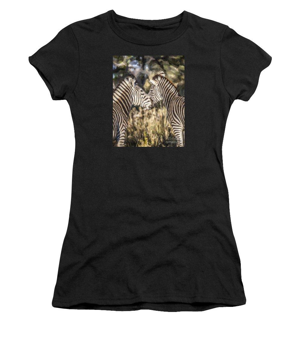 Zebra Women's T-Shirt (Athletic Fit) featuring the digital art Two Zebras Equus Quagga Nuzzlling by Liz Leyden