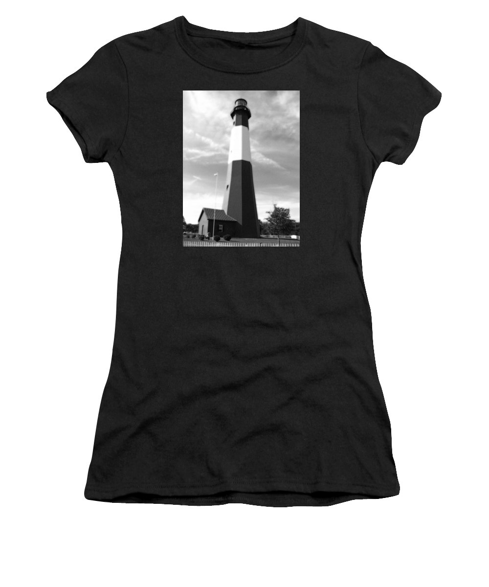 Tybee Lsland Lighthouse Women's T-Shirt (Athletic Fit) featuring the photograph Tybee Island Lighthouse - Bw by Pamela Critchlow