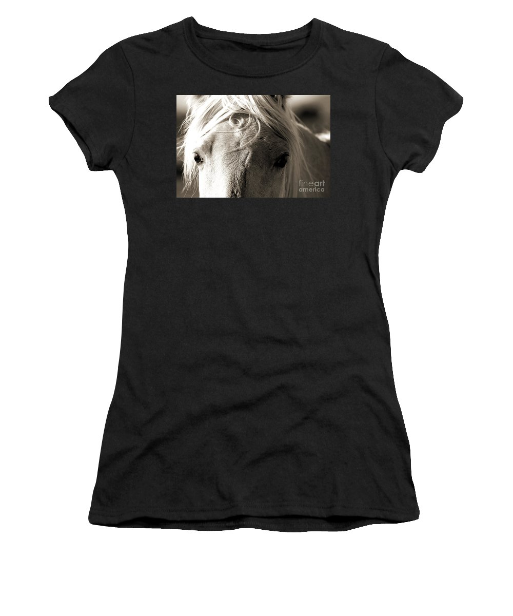 Photography Women's T-Shirt (Athletic Fit) featuring the photograph Unbrushed Mane by Jackie Farnsworth