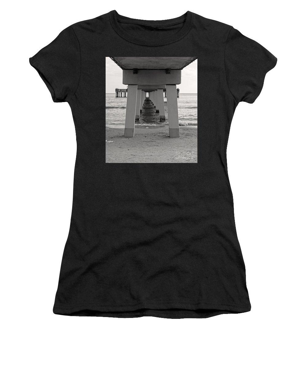 Boardwalk Women's T-Shirt (Athletic Fit) featuring the photograph Under The Boardwalk by Edward Fielding