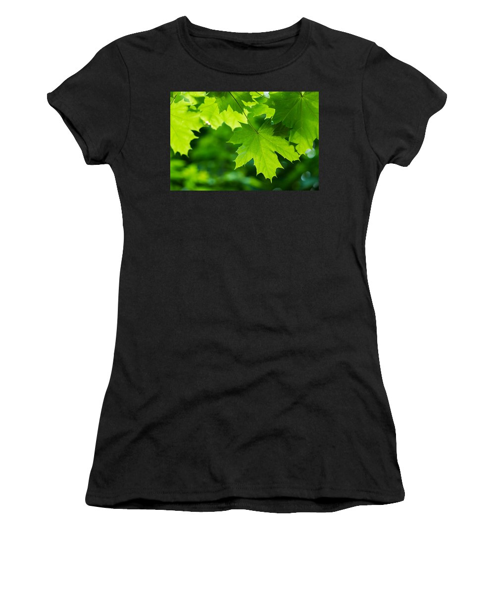 Abstract Women's T-Shirt (Athletic Fit) featuring the photograph Under The Maple Leaves - Featured 2 by Alexander Senin