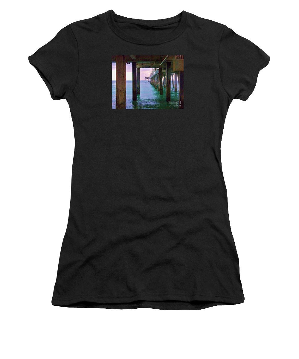 Women's T-Shirt featuring the photograph Under The Pier by Chuck Hicks