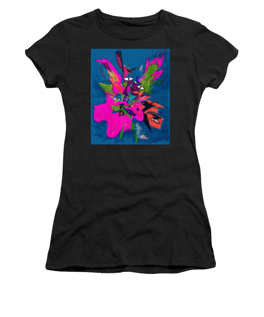 Underwater Feline Women's T-Shirt featuring the mixed media Underwater Feline by Carl Hunter