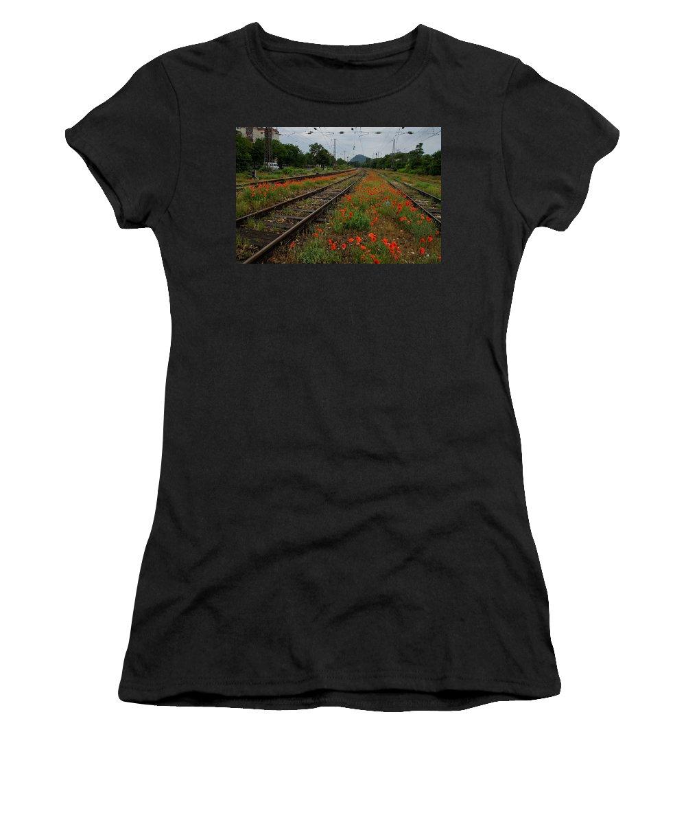 Georgia Mizuleva Women's T-Shirt featuring the photograph Unexpected Garden by Georgia Mizuleva