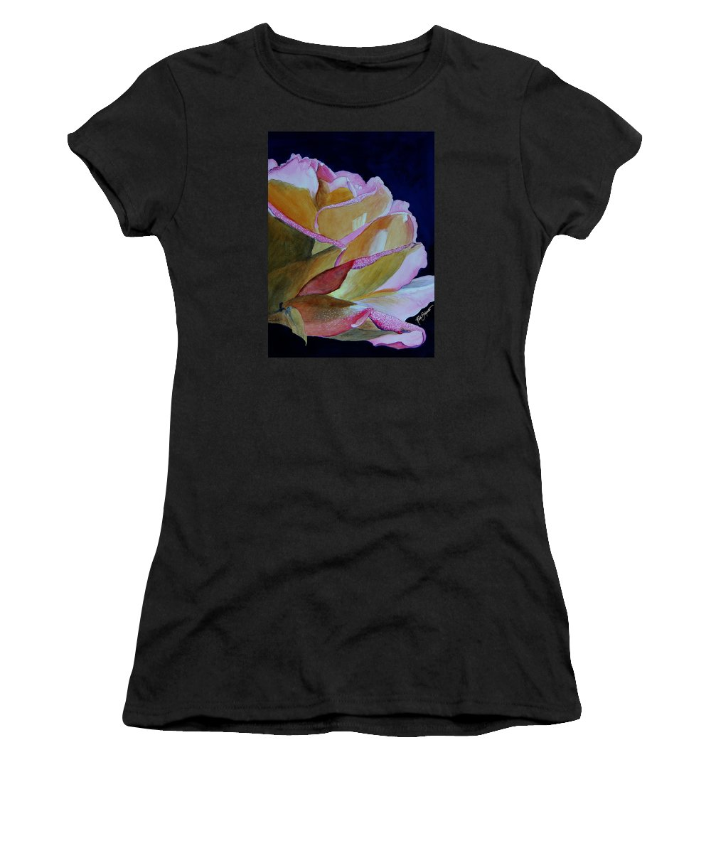 Watercolor Women's T-Shirt (Athletic Fit) featuring the painting Unfolding Rose by Ruth Bodycott