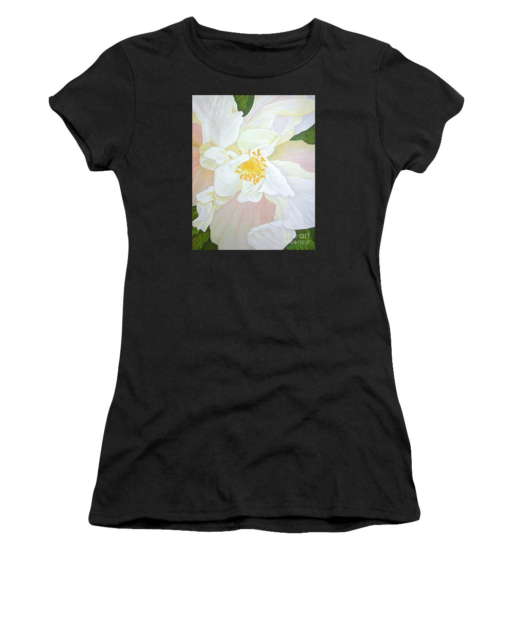 White Women's T-Shirt (Athletic Fit) featuring the painting Unfurling White Hibiscus by Mary Deal
