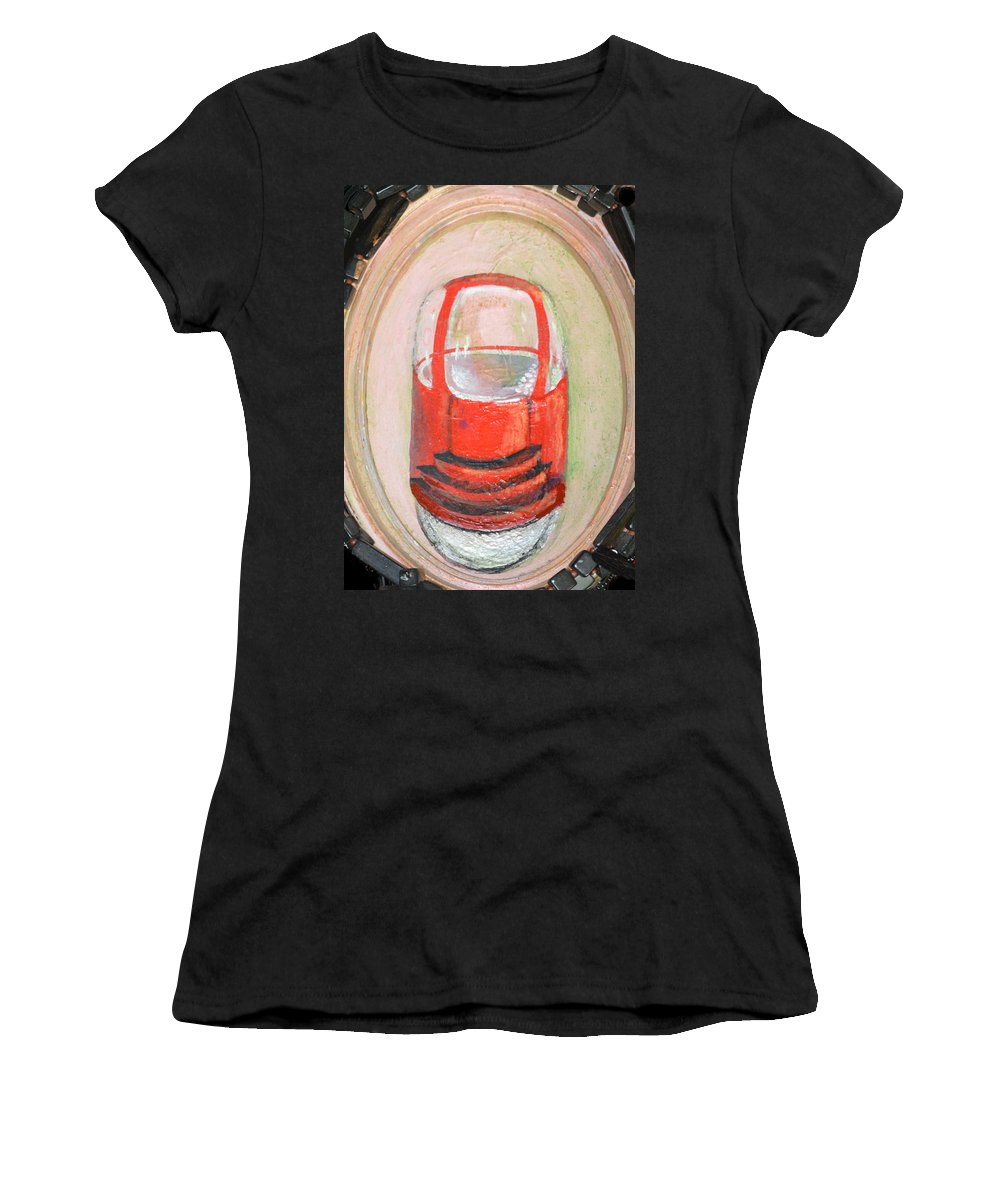 Car One Wheel Red Abstract Modern Outsider Transportation Vehicle Tire Folk Raw Women's T-Shirt featuring the painting Unicar by Nancy Mauerman