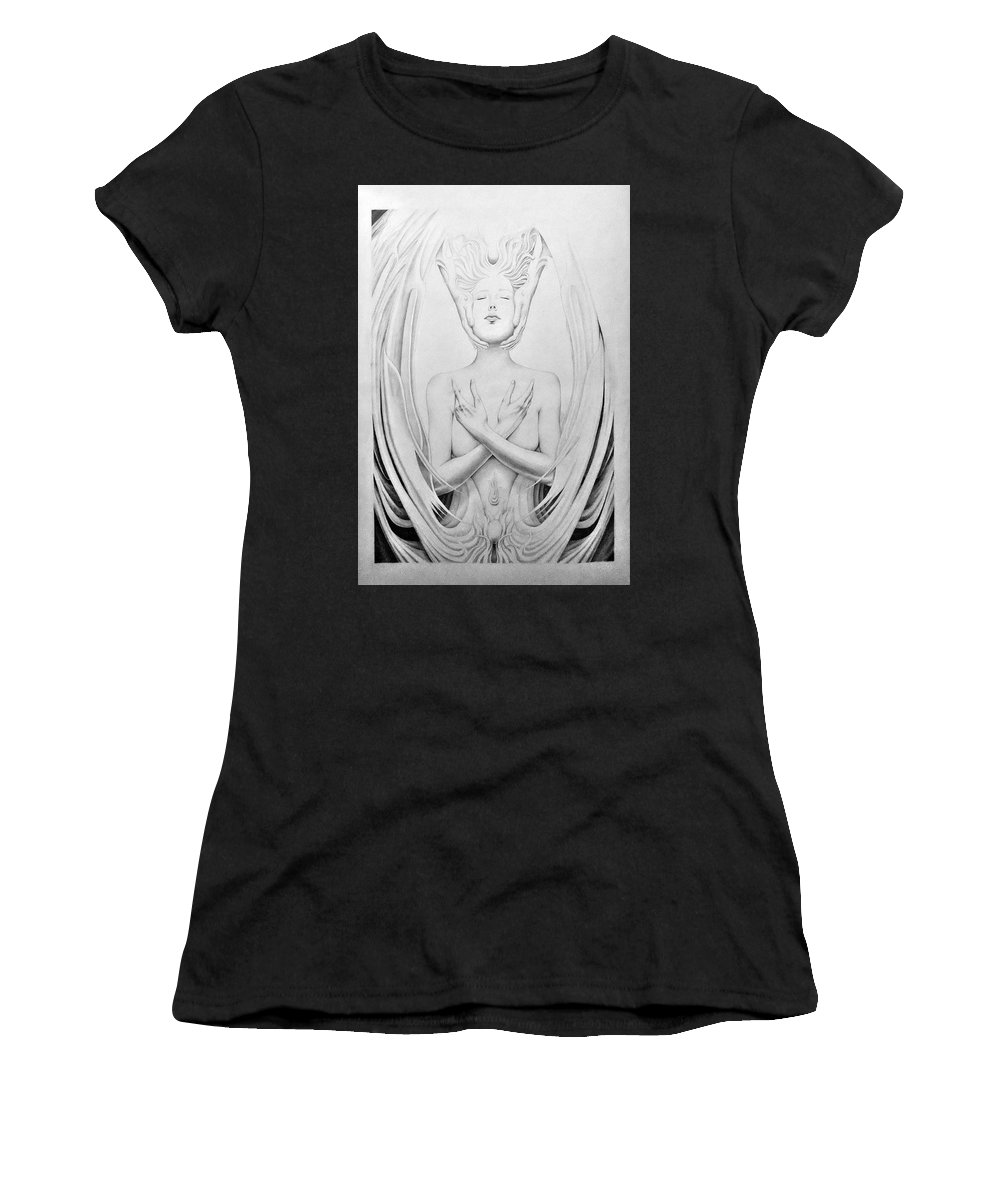 Mystical Women's T-Shirt featuring the drawing Unio Mystica by Mike Chhay