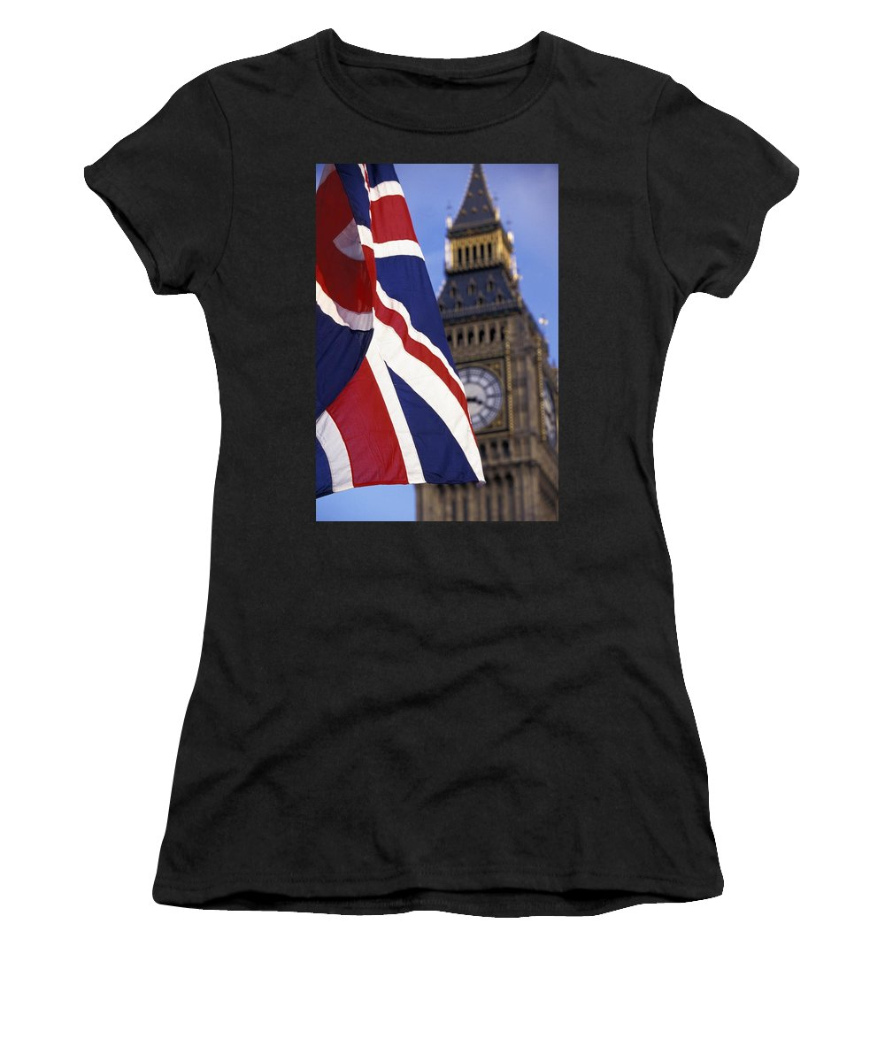 Photography Women's T-Shirt (Athletic Fit) featuring the photograph Union Flag And Big Ben by Axiom Photographic