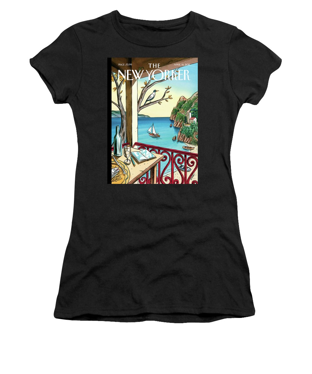 Balcony Women's T-Shirt featuring the painting Drawing While Waiting by Jacques de Loustal