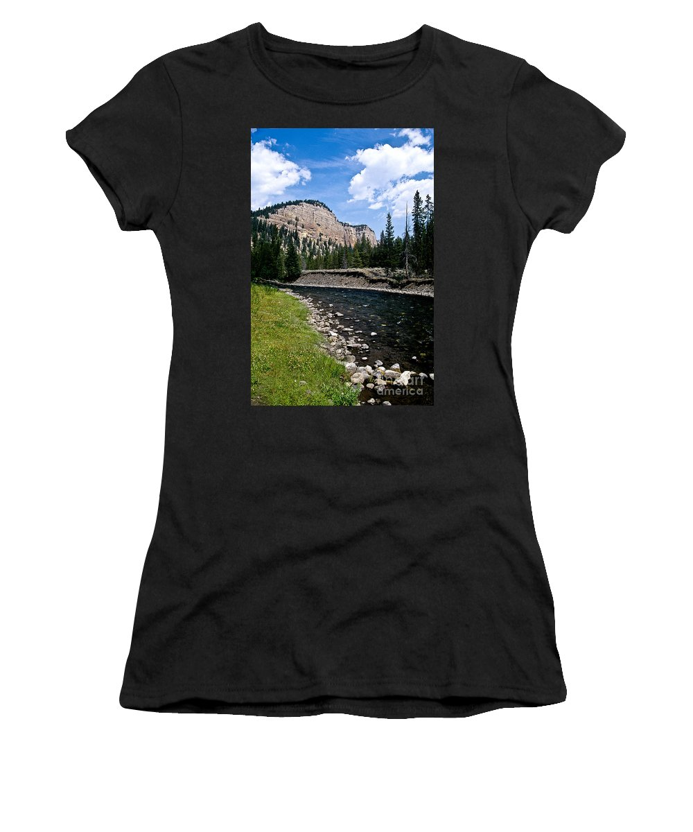 Landscape Women's T-Shirt (Athletic Fit) featuring the photograph Upriver In Washake Wilderness by Kathy McClure