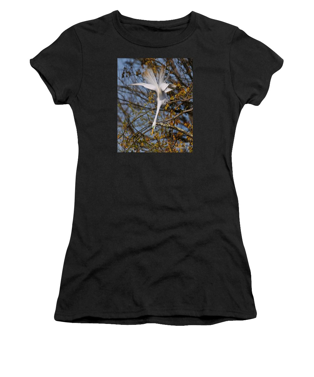 Egret Women's T-Shirt (Athletic Fit) featuring the photograph Upside Down Egret by Timothy Flanigan