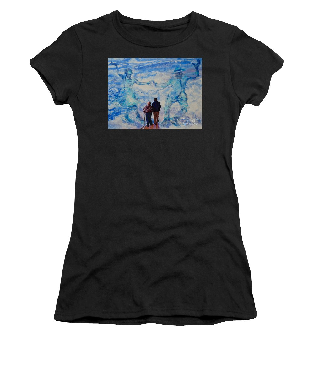 Help Women's T-Shirt (Athletic Fit) featuring the painting Use 2b So Ez - Still We Dance - The Long Good-bye by Charles M Williams