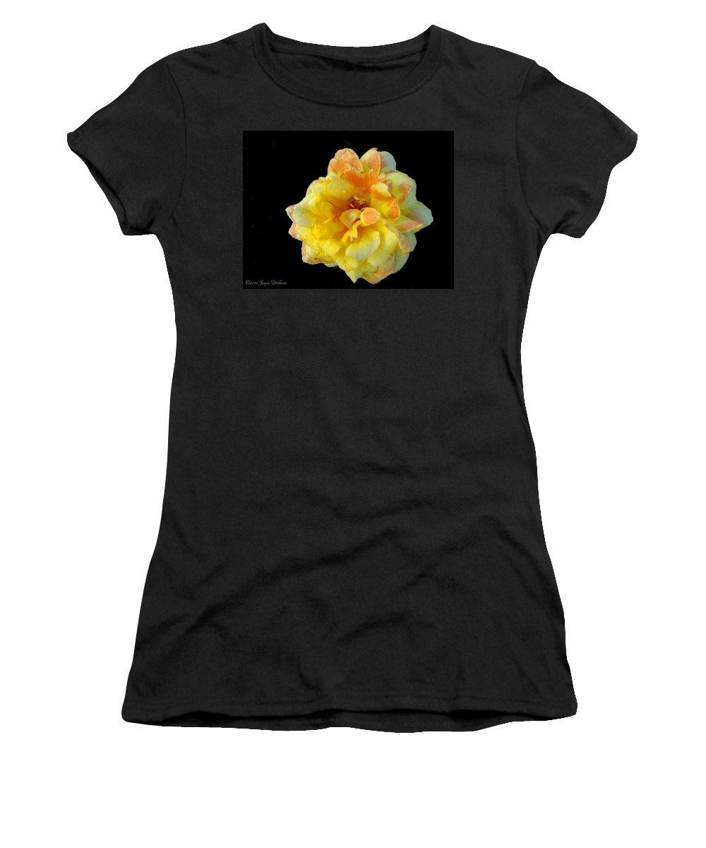 Rose Women's T-Shirt featuring the photograph Variegated Yellow Rose by Joyce Dickens