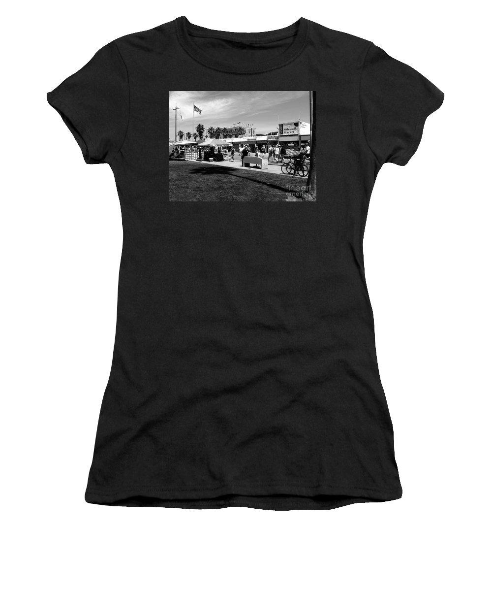 Venice Beach W. Axxemanne Women's T-Shirt featuring the photograph Venice Beach Street Venders by W Axxemanne