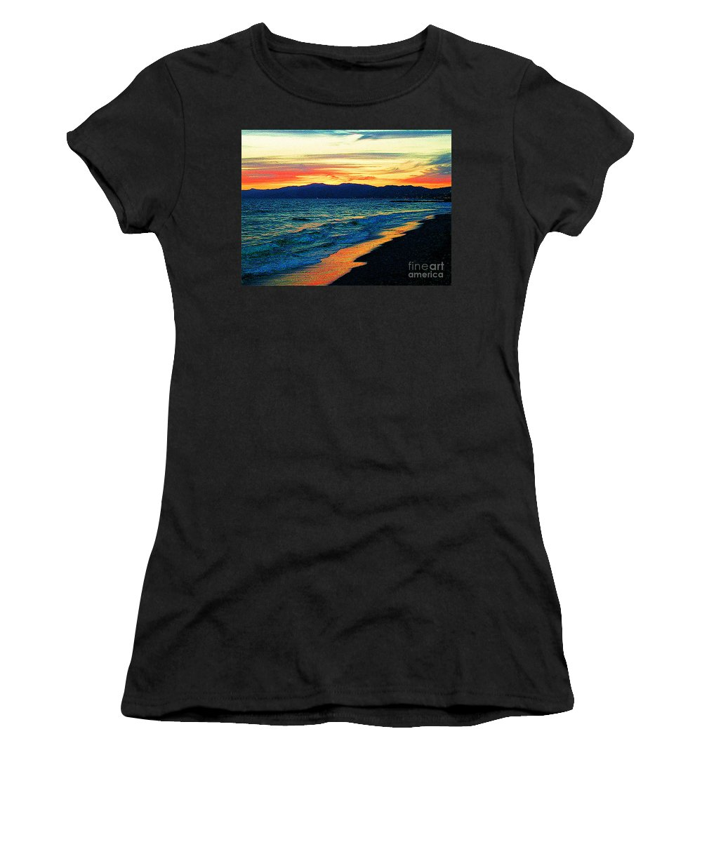 Venice Beach Women's T-Shirt (Athletic Fit) featuring the photograph Venice Beach Sunset by Jerome Stumphauzer