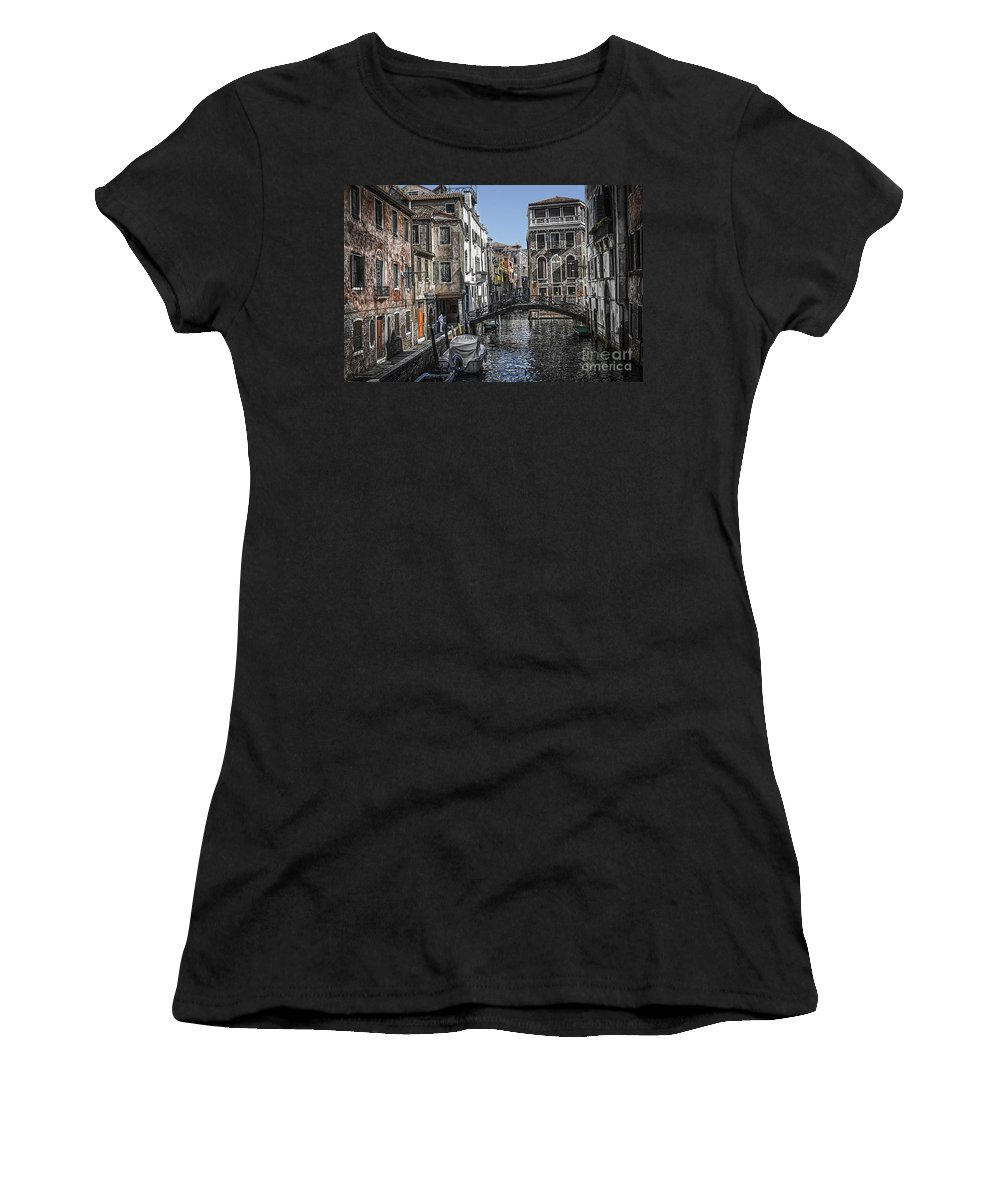 Yvenice Women's T-Shirt featuring the photograph Venice Canal 5 by Paul and Helen Woodford
