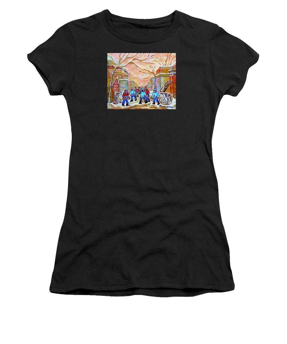 Montreal Women's T-Shirt featuring the painting Verdun Back Lane Hockey Practice Montreal Winter City Scen Painting Carole Spandau by Carole Spandau