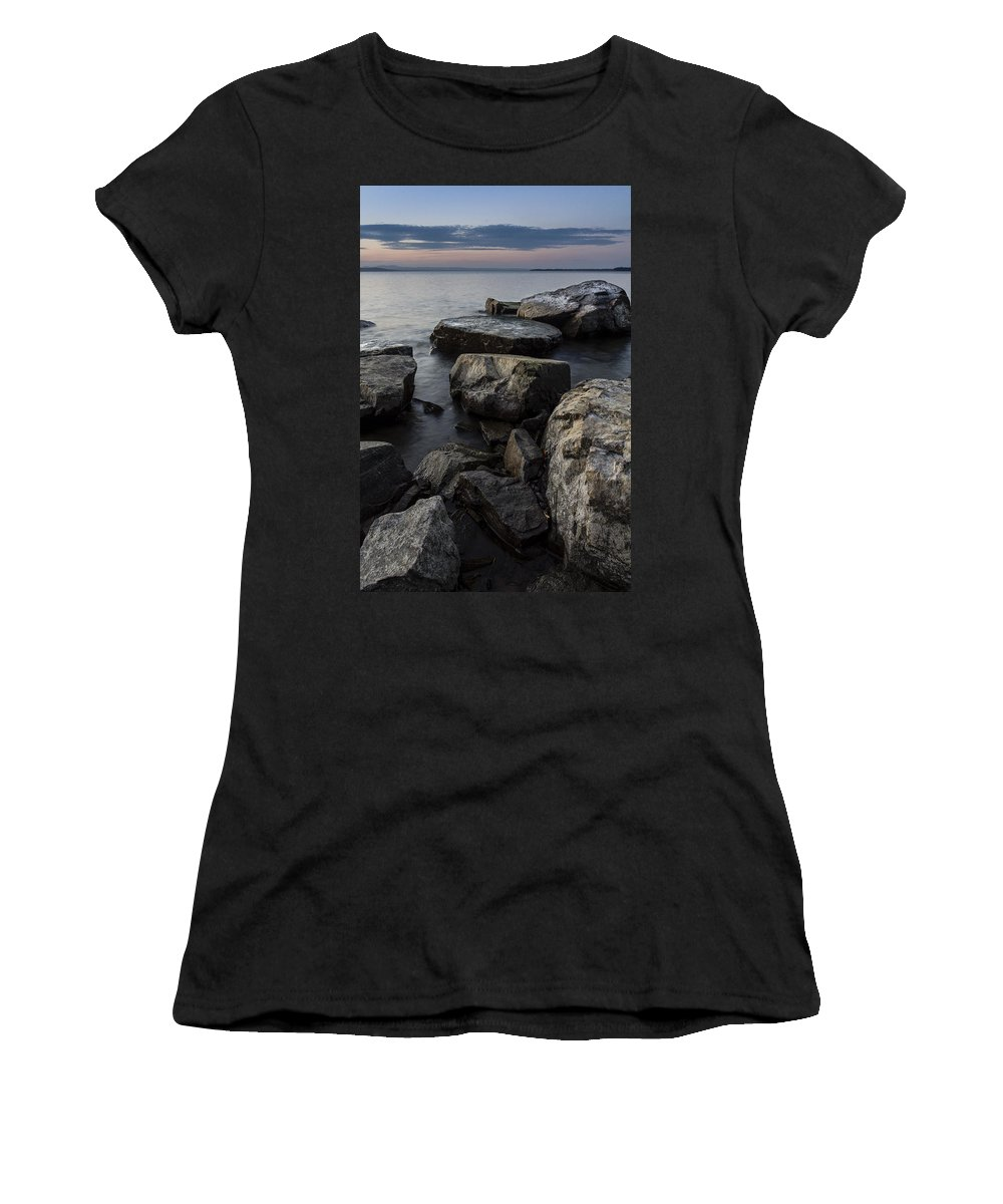 Vermont Women's T-Shirt featuring the photograph Vermont Lake Champlain Sunset Cloudscape Rocks by Andy Gimino