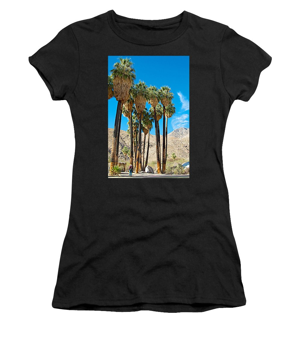 Very Tall Fan Palms In Andreas Canyon In Indian Canyons Women's T-Shirt (Athletic Fit) featuring the photograph Very Tall Fan Palms In Andreas Canyon In Indian Canyons-ca by Ruth Hager