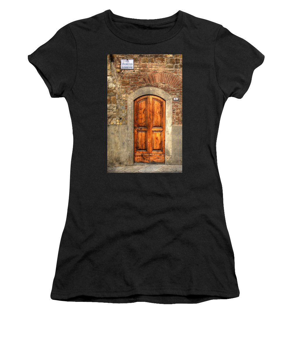 Doorway Women's T-Shirt (Athletic Fit) featuring the photograph Via Francesco by Michael Kirk