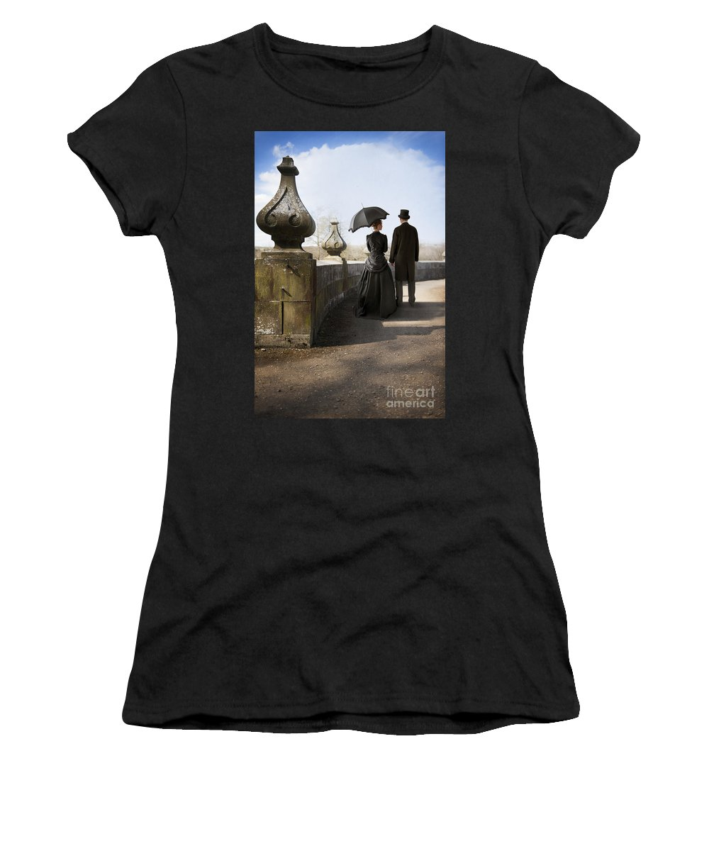 Victorian Women's T-Shirt (Athletic Fit) featuring the photograph Victorian Couple Walking In The Grounds by Lee Avison