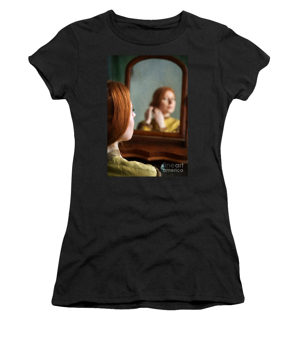 Victorian Women's T-Shirt (Athletic Fit) featuring the photograph Victorian Woman Using A Dressing Table Mirror by Lee Avison