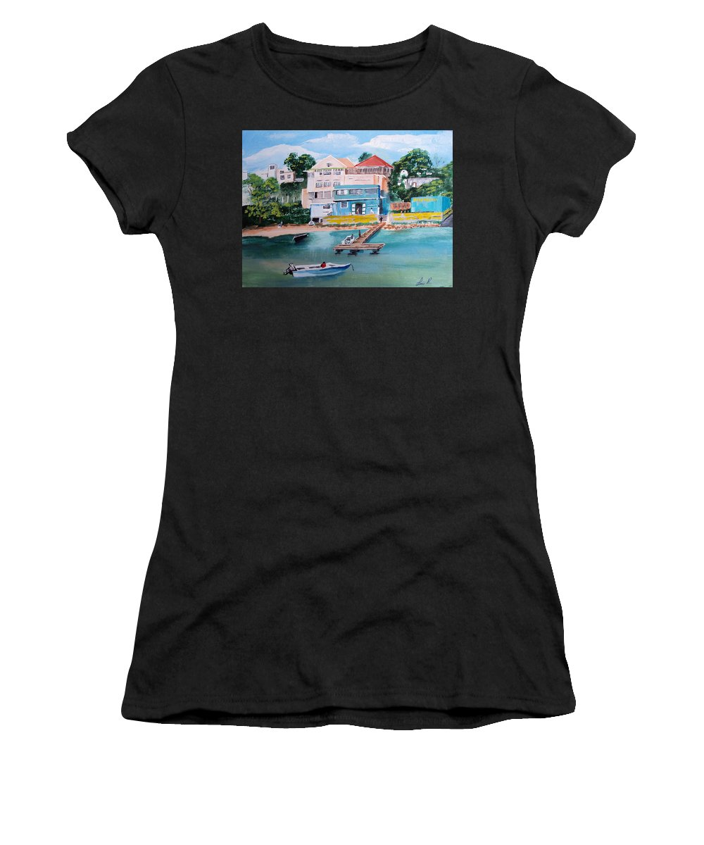 Vieques Women's T-Shirt featuring the painting Vieques Puerto Rico by Luis F Rodriguez