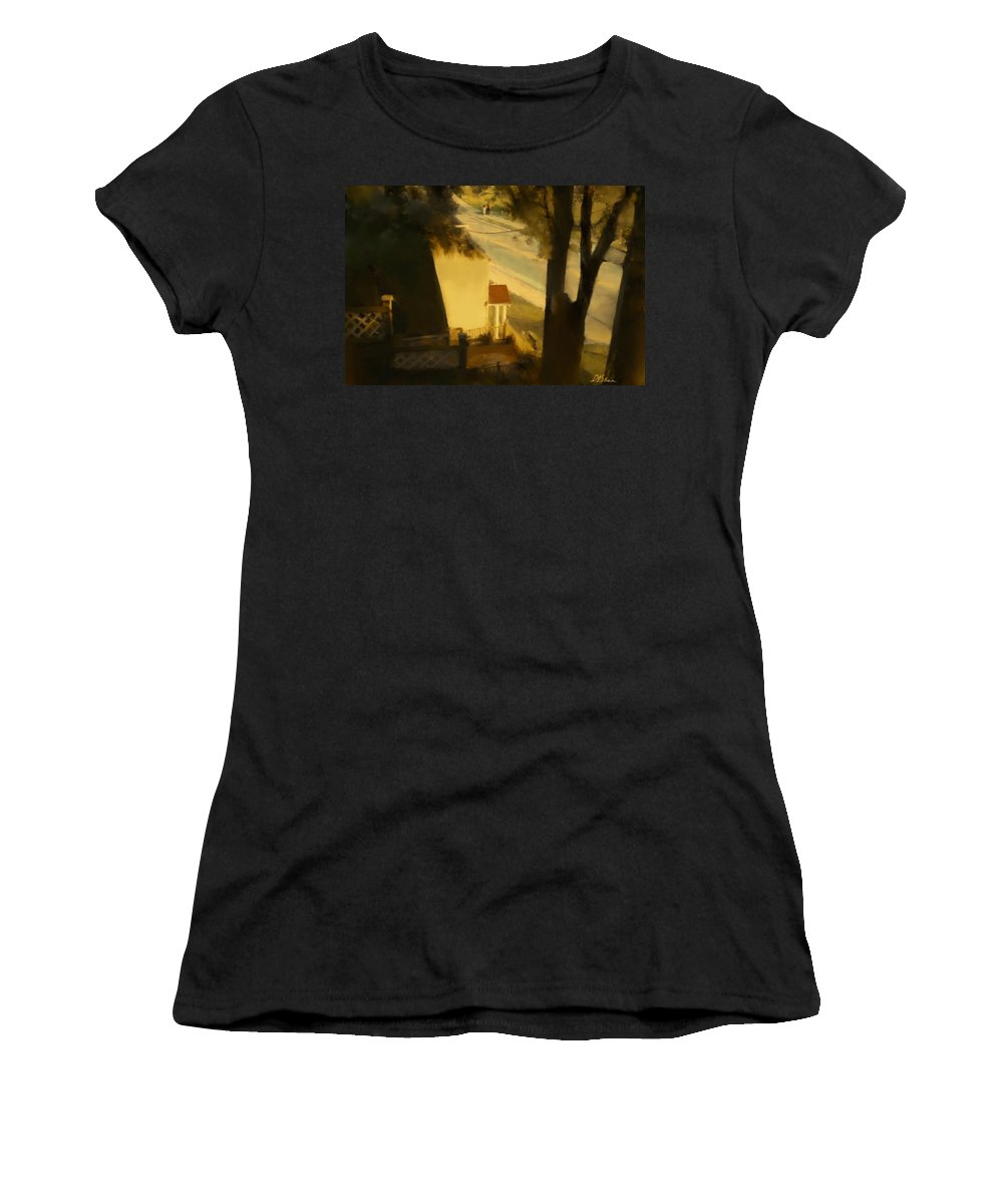 Fineartamerica.com Women's T-Shirt featuring the painting View From My Window On A Summer Afternoon B-4 by Diane Strain