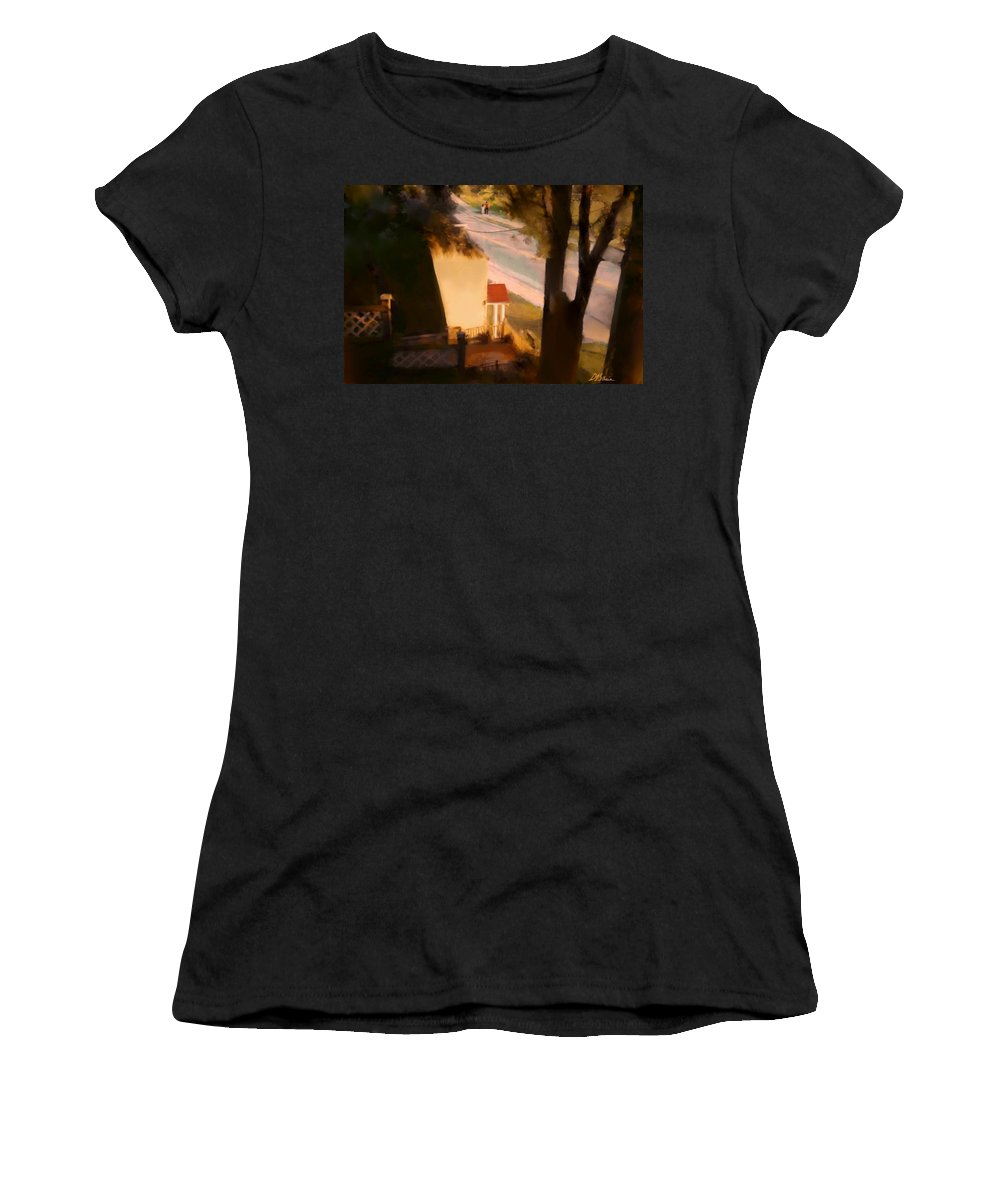 Fineartamerica.com Women's T-Shirt featuring the painting View From My Window On A Summer Afternoon B-9 by Diane Strain