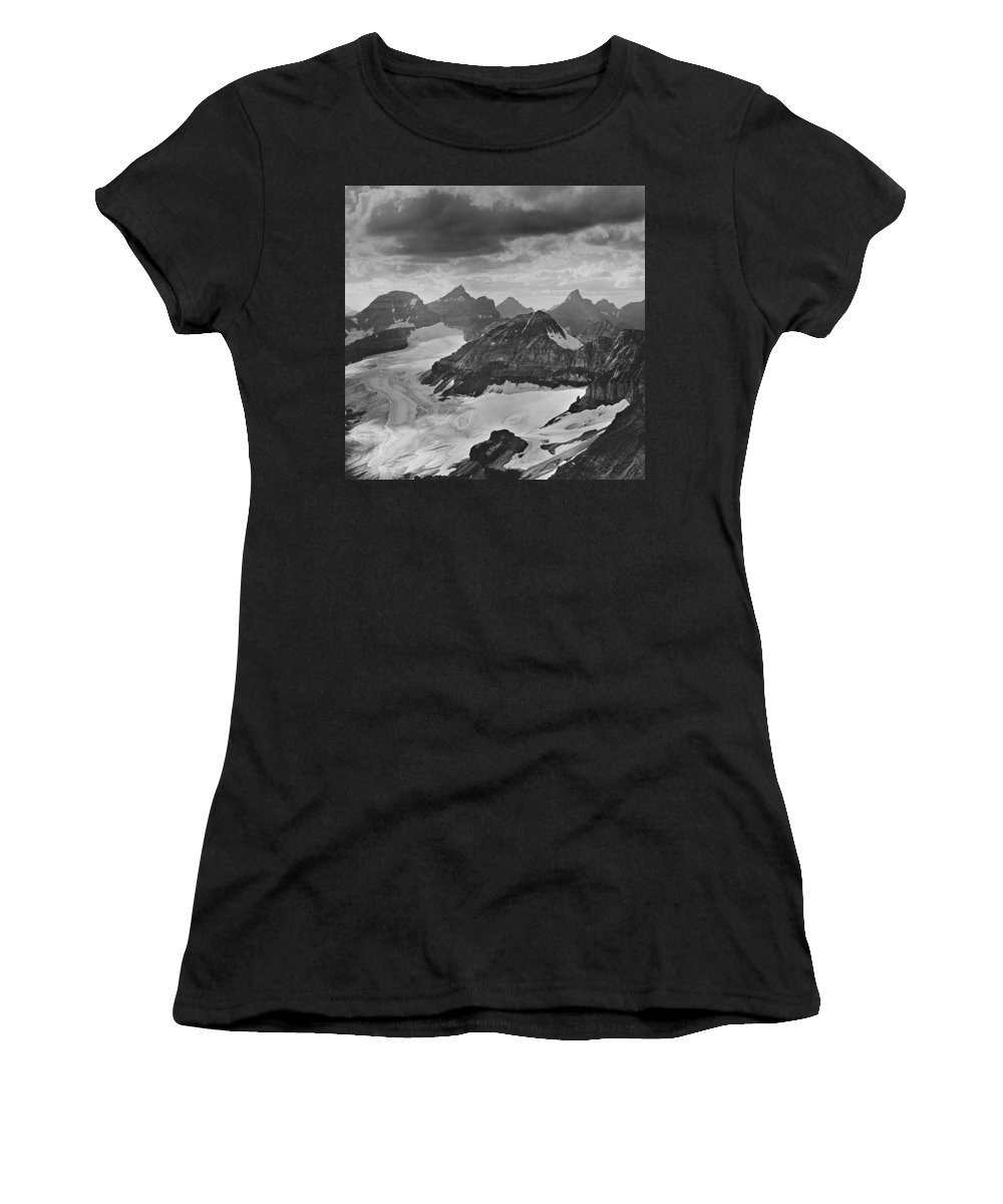 Quarda Mountain Women's T-Shirt featuring the photograph T-303501-bw-view From Quadra Mtn Looking Towards Ten Peaks by Ed Cooper Photography