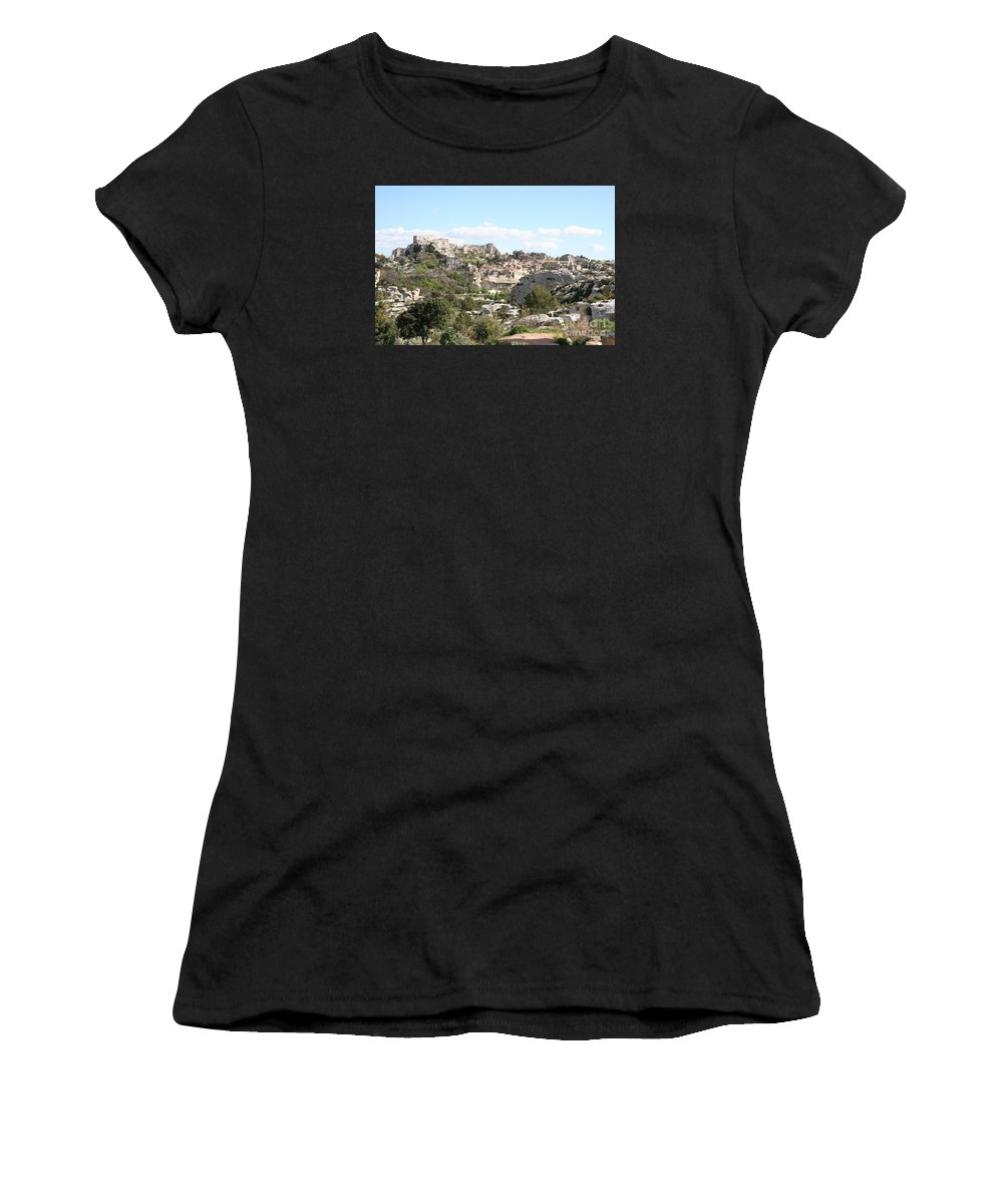 Village Women's T-Shirt (Athletic Fit) featuring the photograph View Of Les Baux De Provence by Christiane Schulze Art And Photography