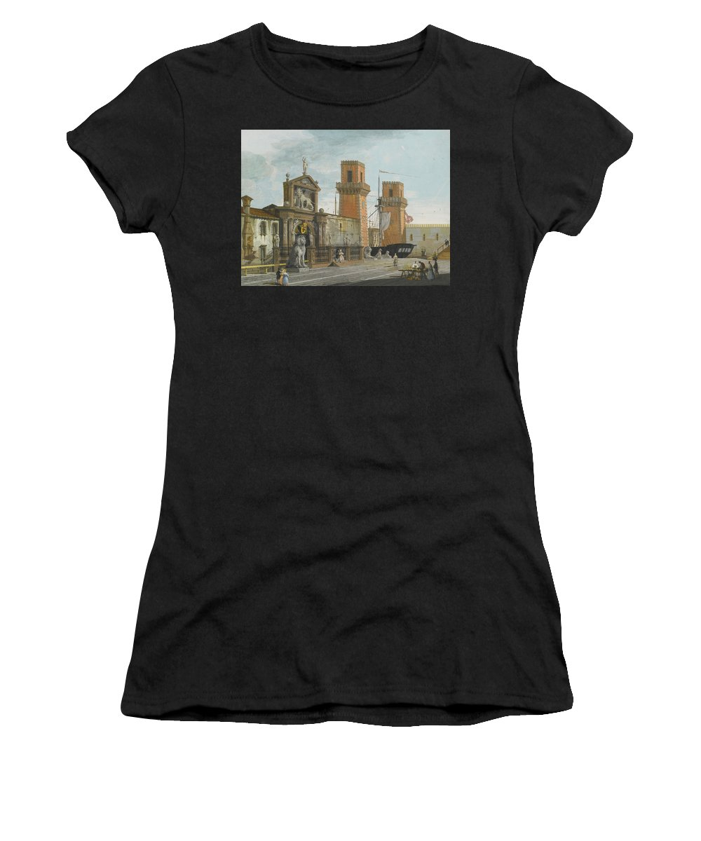 Giuseppe Bernardino Bison Women's T-Shirt featuring the painting View Of The Arsenale. Venice by Giuseppe Bernardino Bison