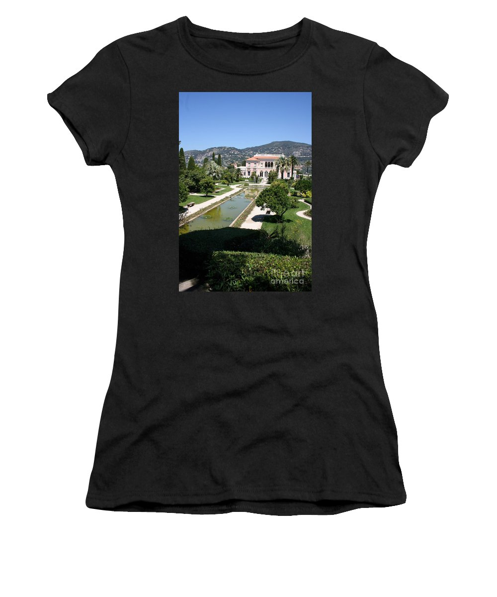 Villa Women's T-Shirt (Athletic Fit) featuring the photograph Villa Ephrussi De Rothschild And Garden by Christiane Schulze Art And Photography