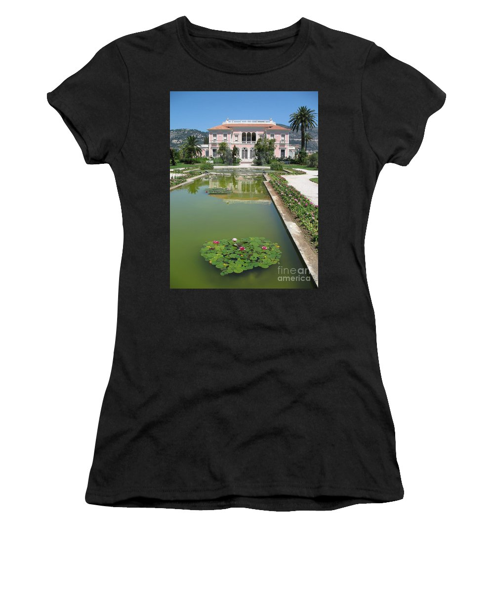 Villa Women's T-Shirt featuring the photograph Villa Ephrussi De Rothschild With Reflection by Christiane Schulze Art And Photography