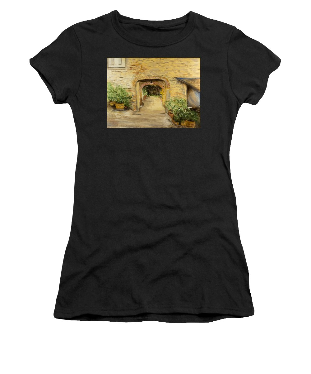 Oil Painting Women's T-Shirt featuring the painting Villa In Italy by Kathy Knopp