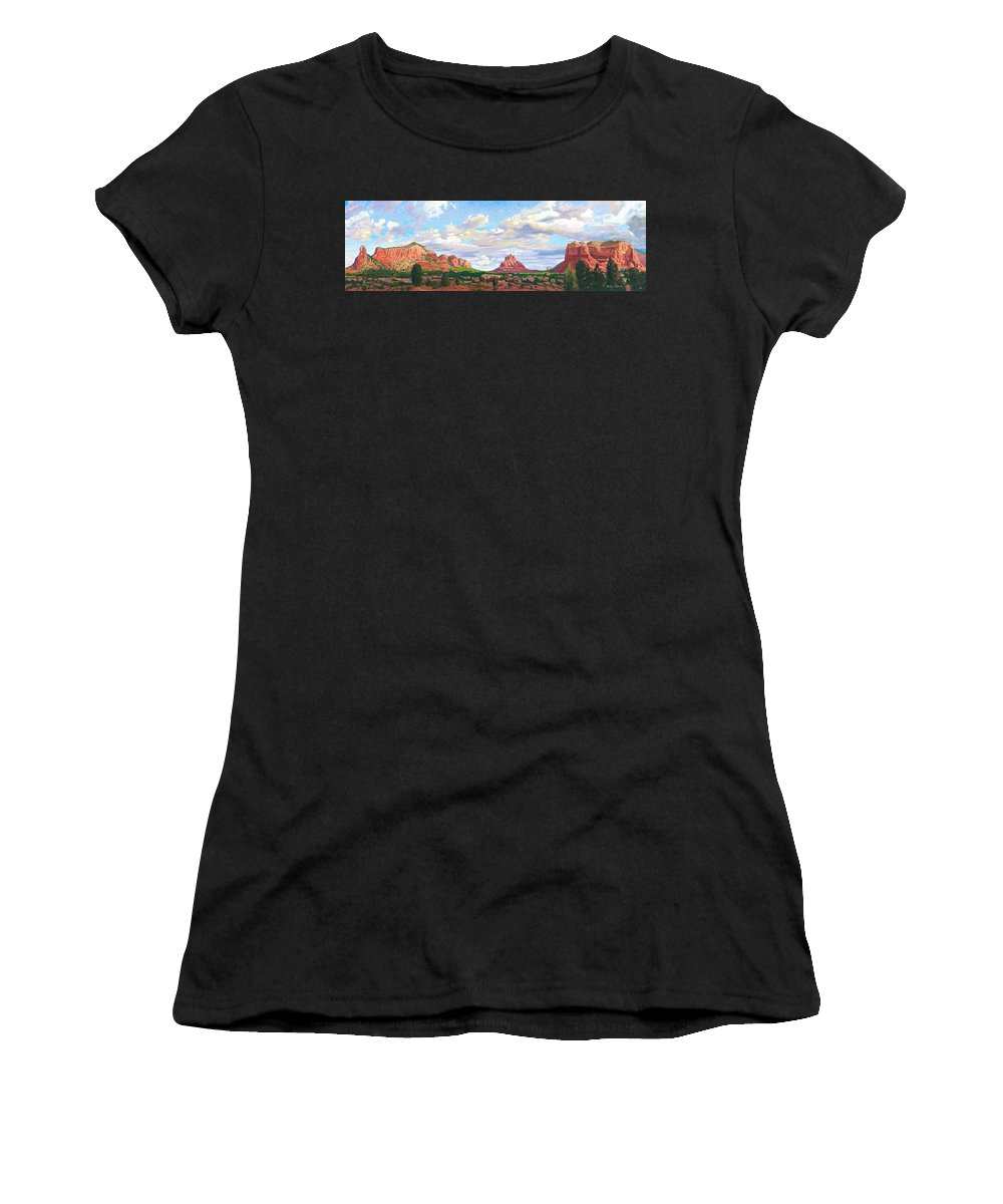 Skyline Women's T-Shirt (Athletic Fit) featuring the painting Village Of Oak Creek - Sedona by Steve Simon