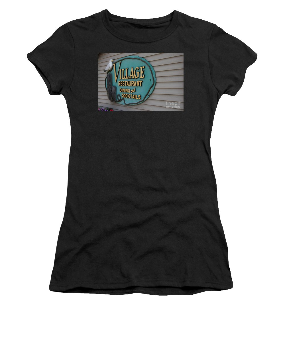 Gull Women's T-Shirt featuring the photograph Village Restaurant by Christiane Schulze Art And Photography