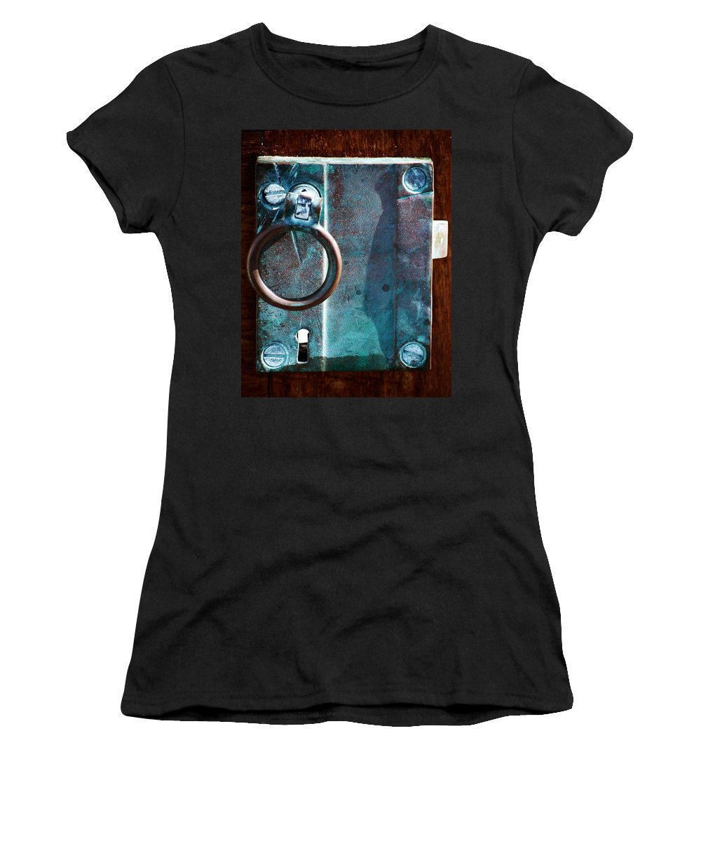 Door Women's T-Shirt (Athletic Fit) featuring the photograph Vintage Boat Door Knob by Holly Blunkall