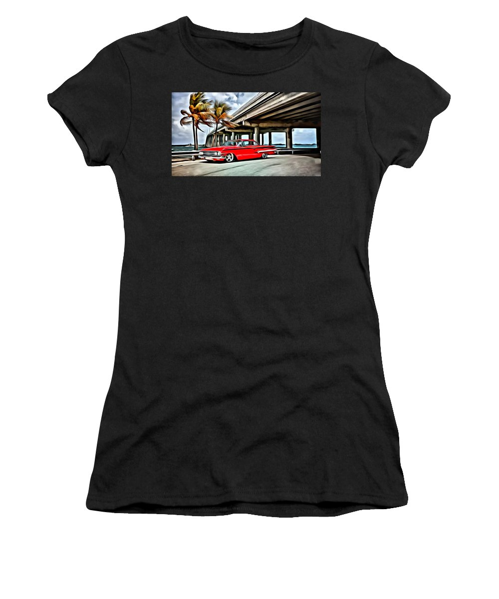 Car Women's T-Shirt featuring the painting Vintage Chevy Impala by Florian Rodarte