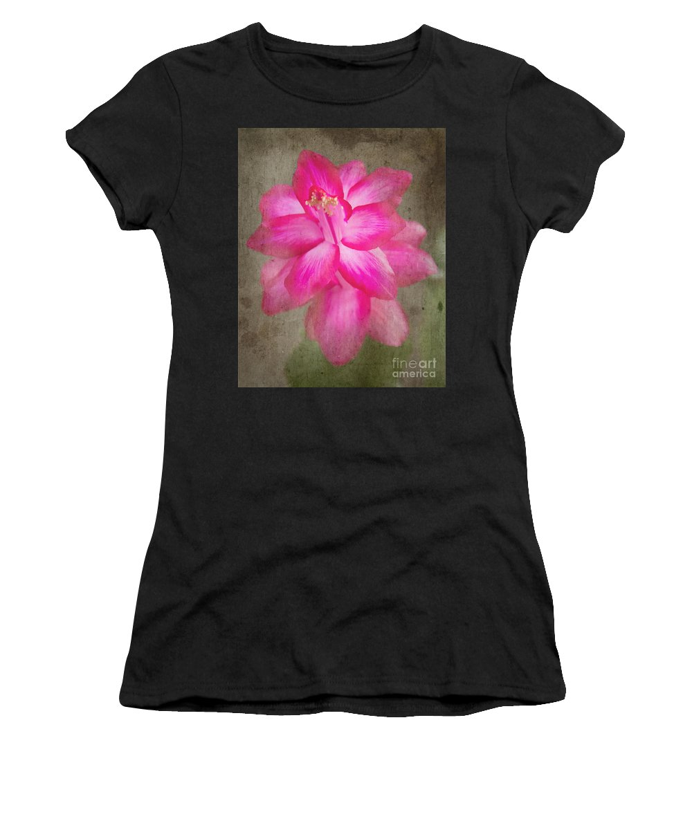 Jemmy Archer Women's T-Shirt (Athletic Fit) featuring the photograph Vintage Christmas Cactus by Jemmy Archer
