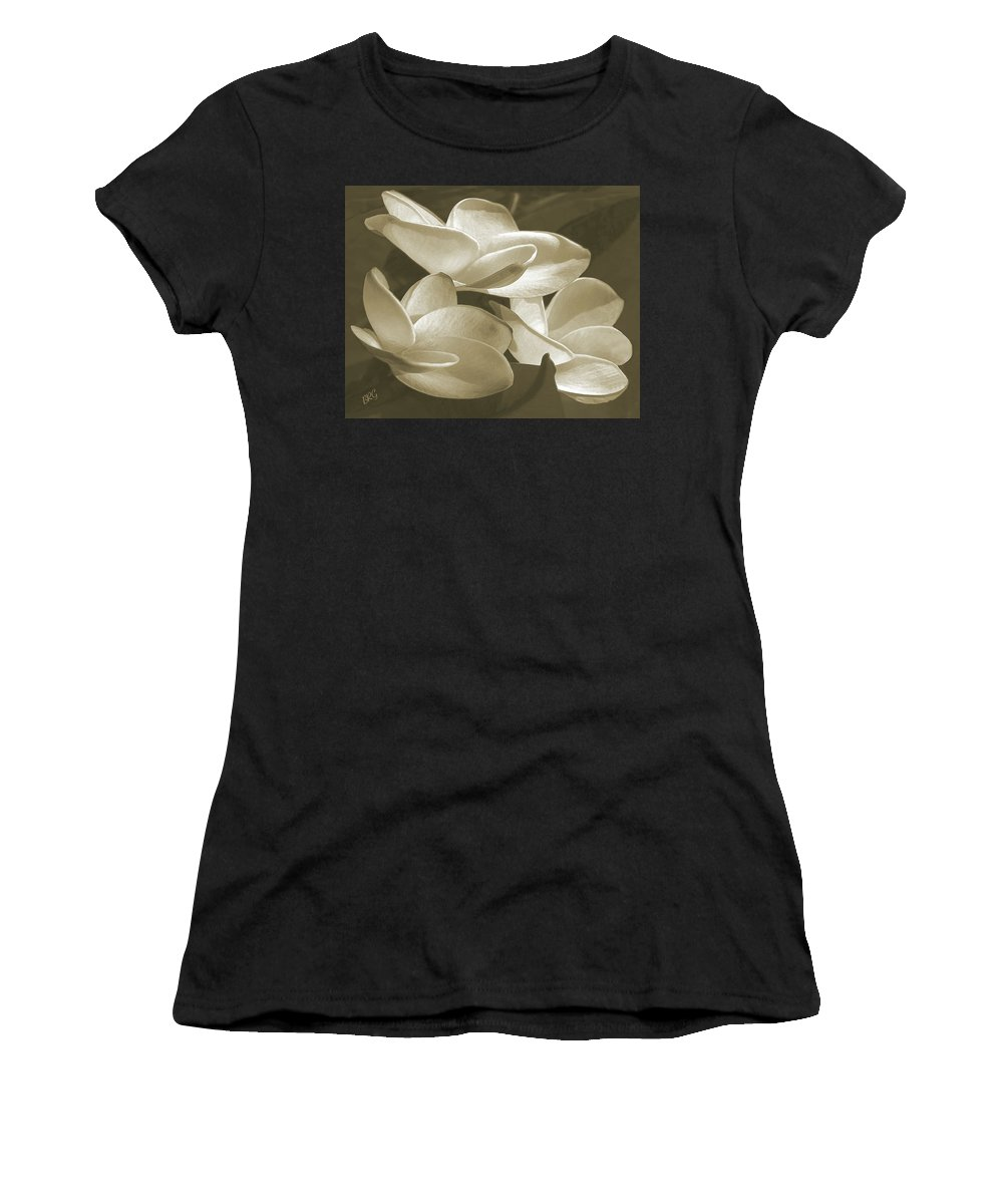 Plumeria Women's T-Shirt featuring the photograph Vintage Plumeria Trio by Ben and Raisa Gertsberg