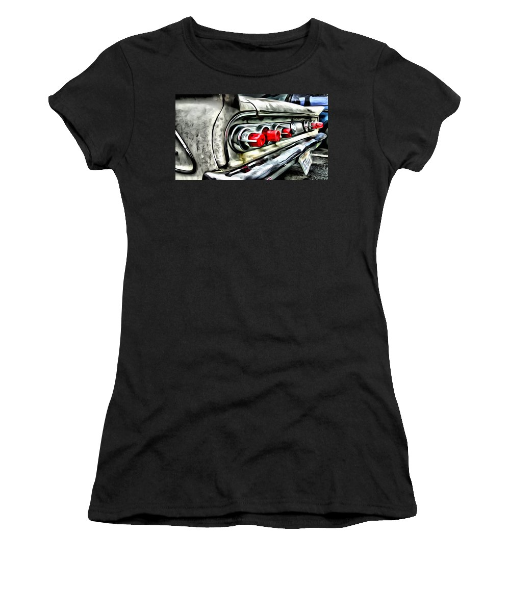 Car Women's T-Shirt featuring the painting Vintage Pontiac Taillights by Florian Rodarte