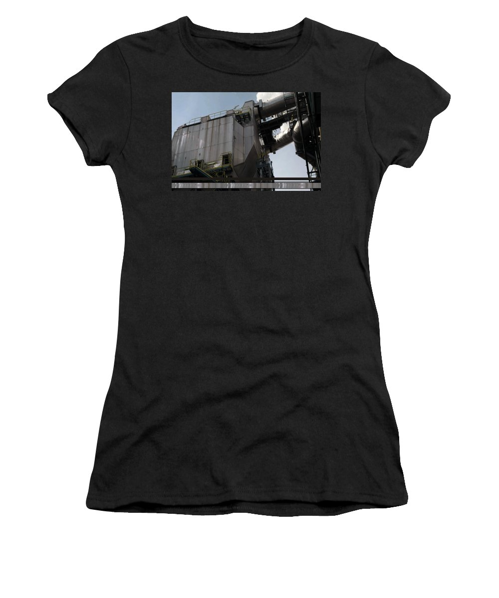Vintage Women's T-Shirt featuring the mixed media Vintage Power Plant Part View Industrial Photography by Navin Joshi