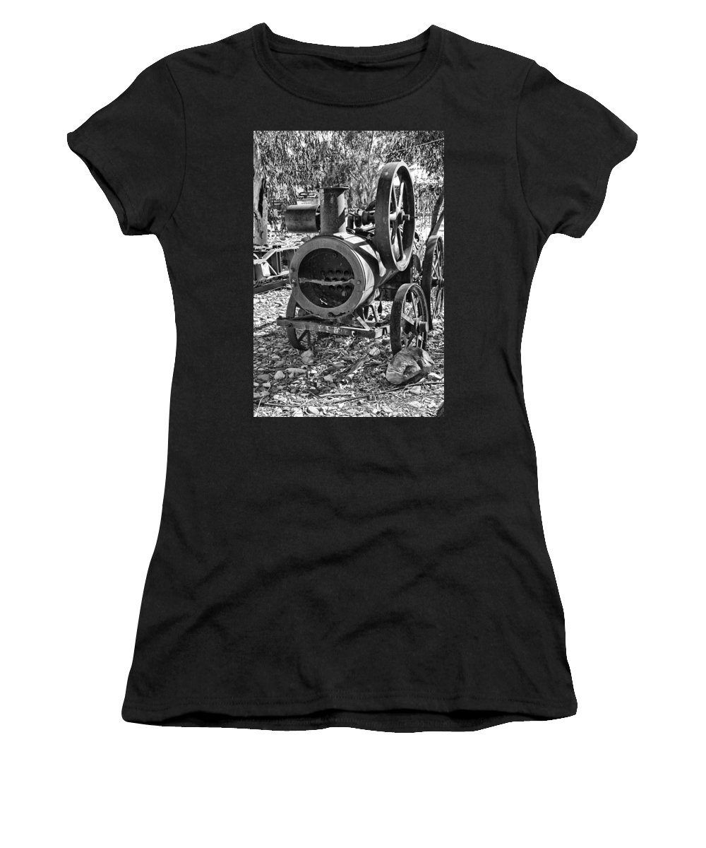 Vintage Women's T-Shirt featuring the photograph Vintage Steam Tractor Black And White by Douglas Barnard
