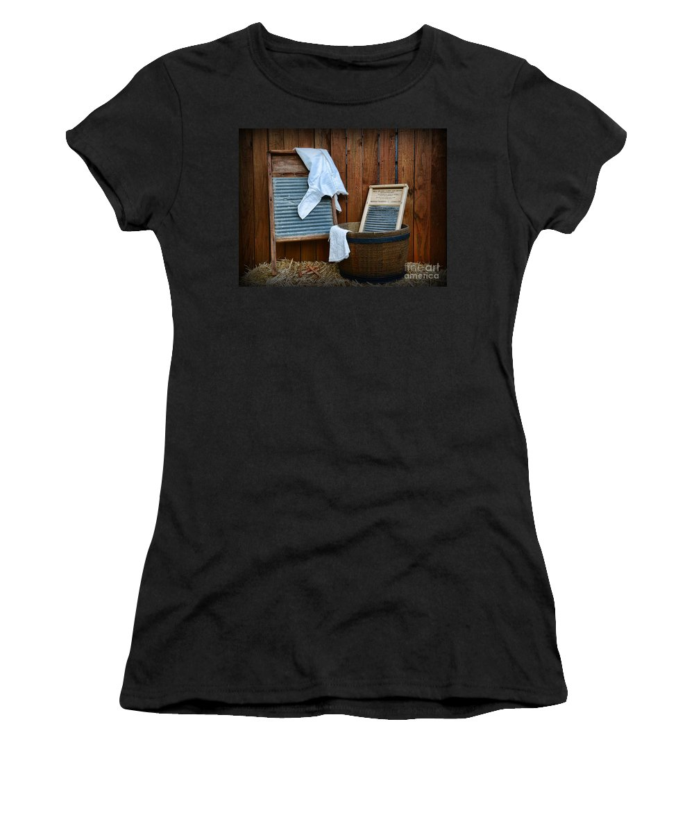 Paul Ward Women's T-Shirt (Athletic Fit) featuring the photograph Vintage Washboard Laundry Day by Paul Ward