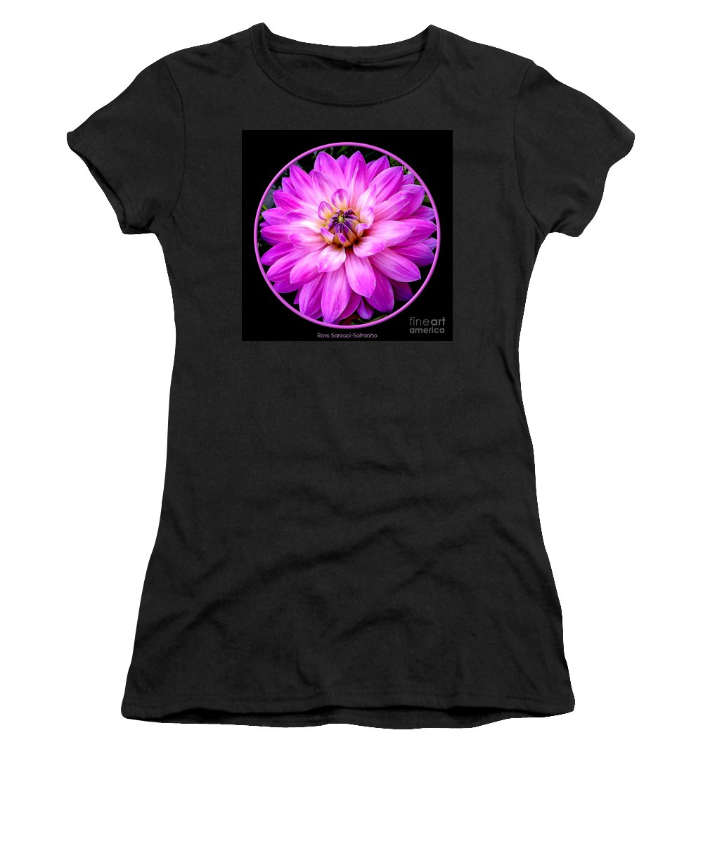 Violet Dahlia Women's T-Shirt (Athletic Fit) featuring the photograph Violet Dahlia by Rose Santuci-Sofranko