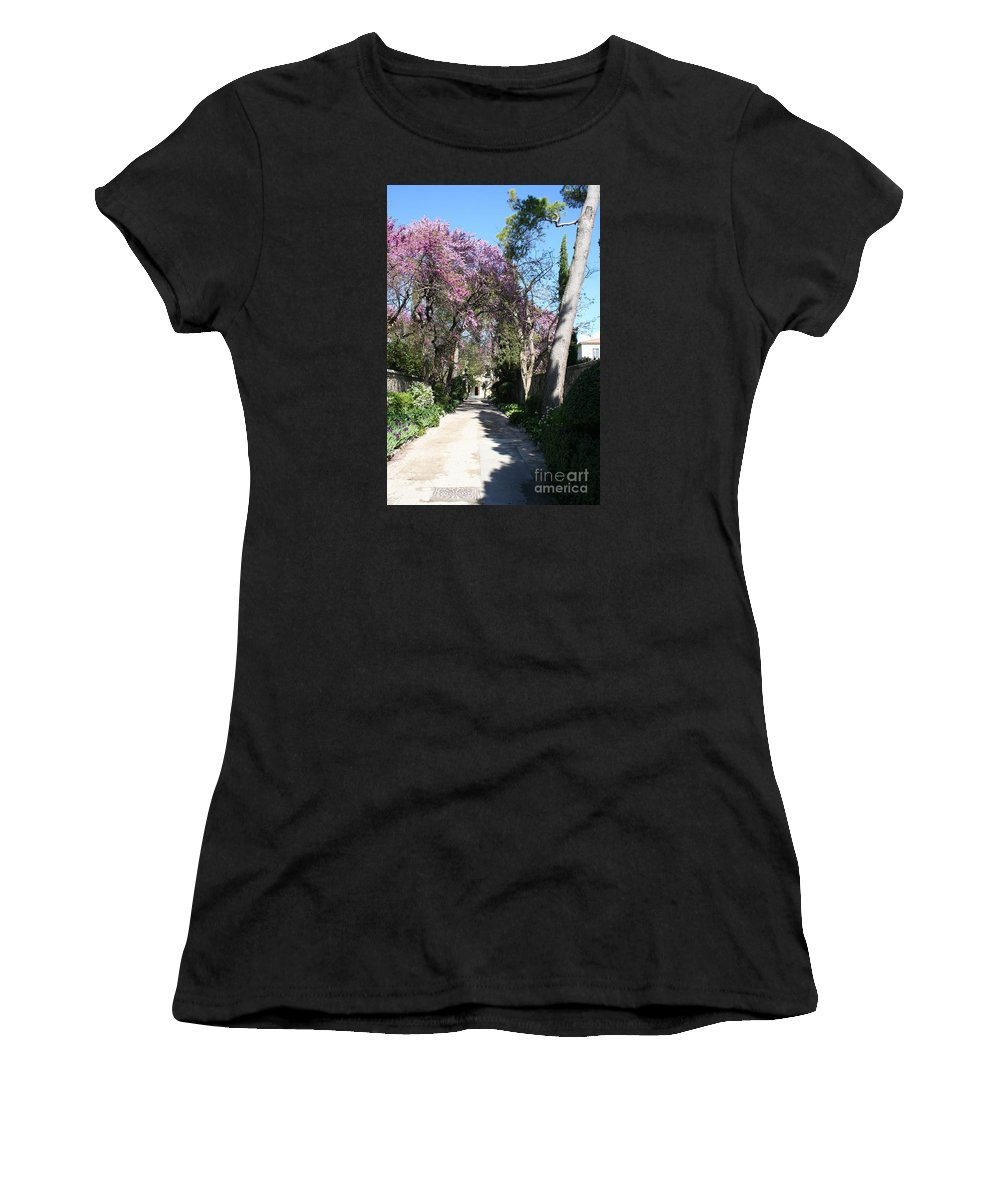 Alley Women's T-Shirt (Athletic Fit) featuring the photograph Violet Tree Alley by Christiane Schulze Art And Photography
