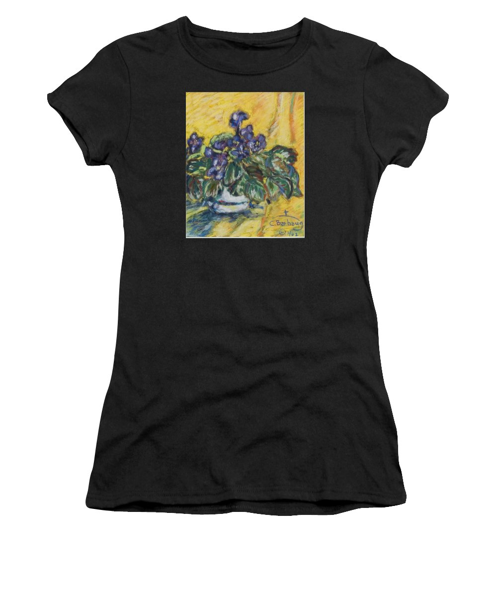 Flowers Women's T-Shirt (Athletic Fit) featuring the pastel Violets by Christi Barhaug
